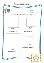 Measure the perimeter of a square - Worksheet