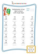 Multiplication of two digit numbers(with single digit)