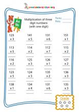 Multiplication of three digit numbers(with single digit)