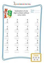 Subtraction of one digit numbers with without carry overs