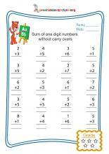 Sum of one digit numbers without carry overs