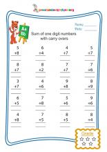 Sum of one digit numbers with carry overs
