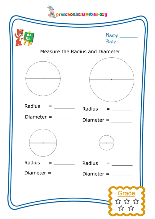 measure the radius and diameter free worksheet download preschool activities. Black Bedroom Furniture Sets. Home Design Ideas