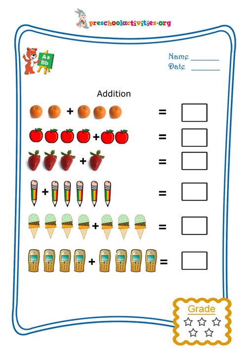 math worksheet : picture addition  free worksheet download  preschool activities : Pictorial Addition Worksheets