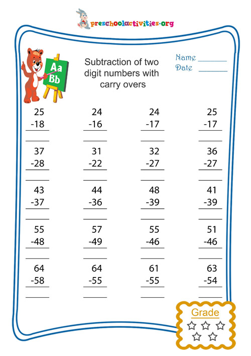 Subtraction of two digit numbers with carry overs